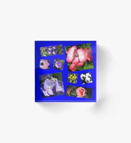 Blumen-Power-Collage Acrylblock