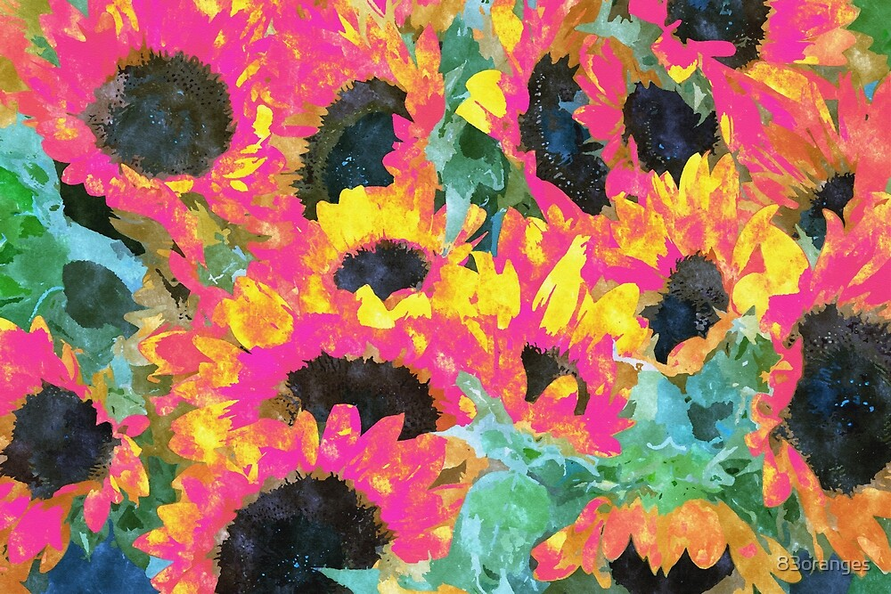 Pink Sunflowers #malerei #natur #digitalart von 83oranges
