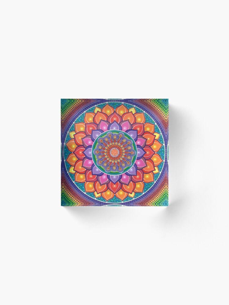 Alternate view of Lotus Rainbow Mandala Acrylic Block