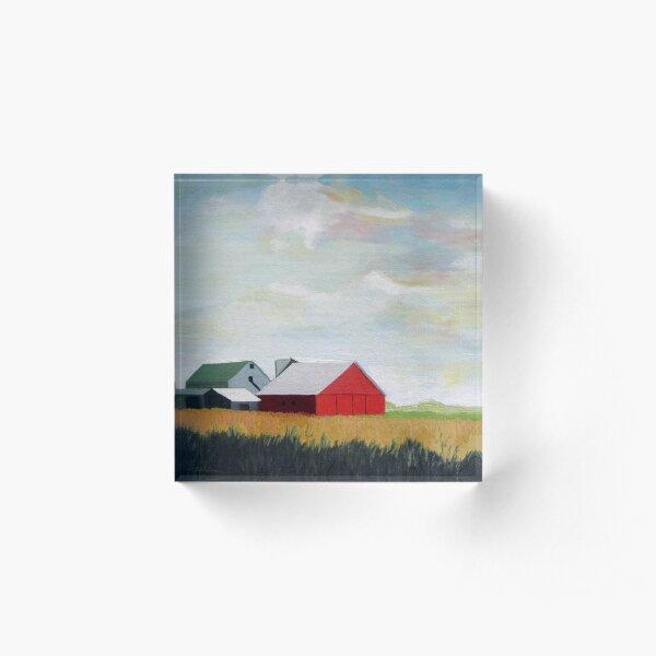 Country Farm Landscape rural Red Barn Acrylic Block