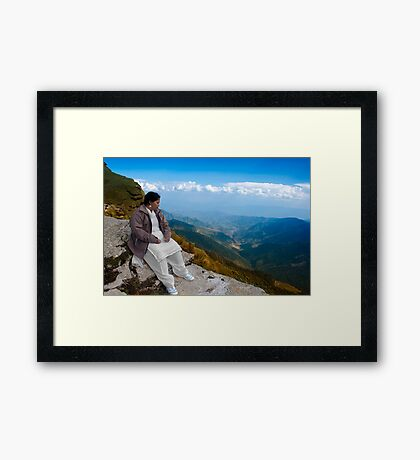 The Tourist watching the Beauty of Tungnath Mahadev Hills. Framed Print