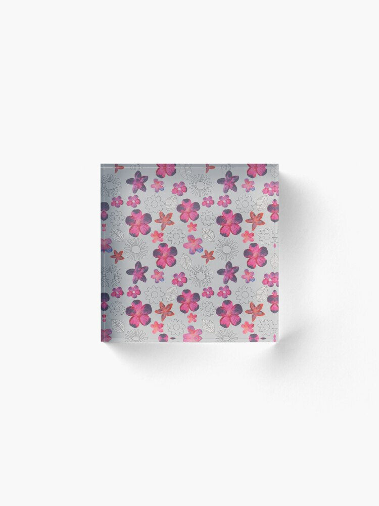 Alternate view of Watercolour Floral Pattern Acrylic Block