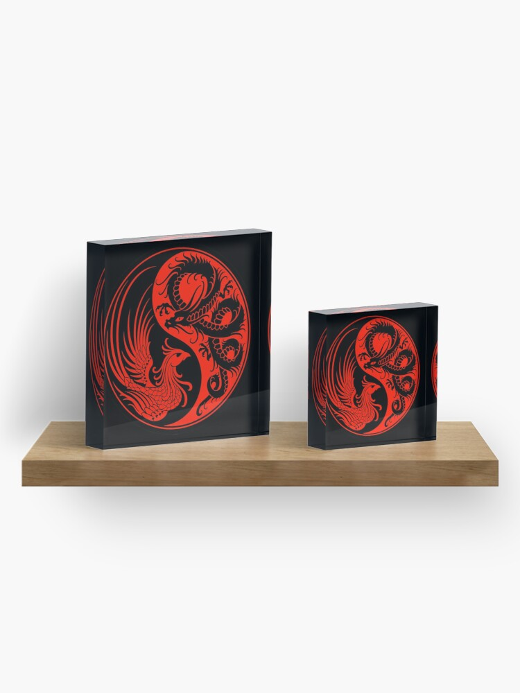 Alternate view of Red and Black Dragon Phoenix Yin Yang Acrylic Block
