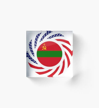 Transnistrian American Multinational Patriot Flag Series Acrylic Block