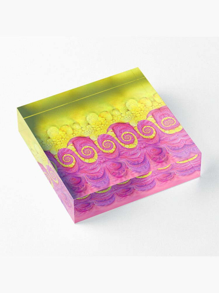 Alternate view of Yellow and Pink Acrylic Block