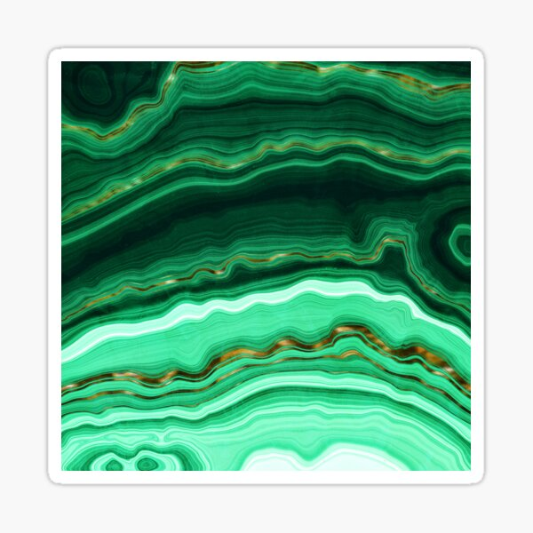 Green and Gold and Mint veined Malachite Gemstone Sticker