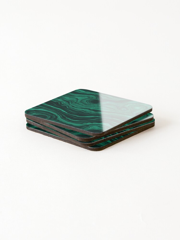 Alternate view of Malachite Green Marble with light Veins Coasters (Set of 4)