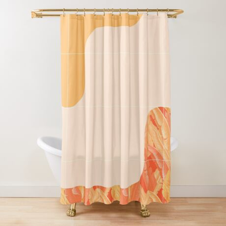 Mid-Century Tropical Orange Way #redbubble #tropical Shower Curtain