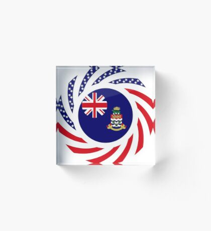 Caymanian American Multinational Patriot Flag Series Acrylic Block