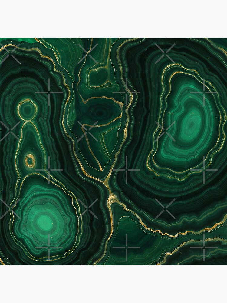 Malachite Green Marble with Gold Veins IV by MysticMarble