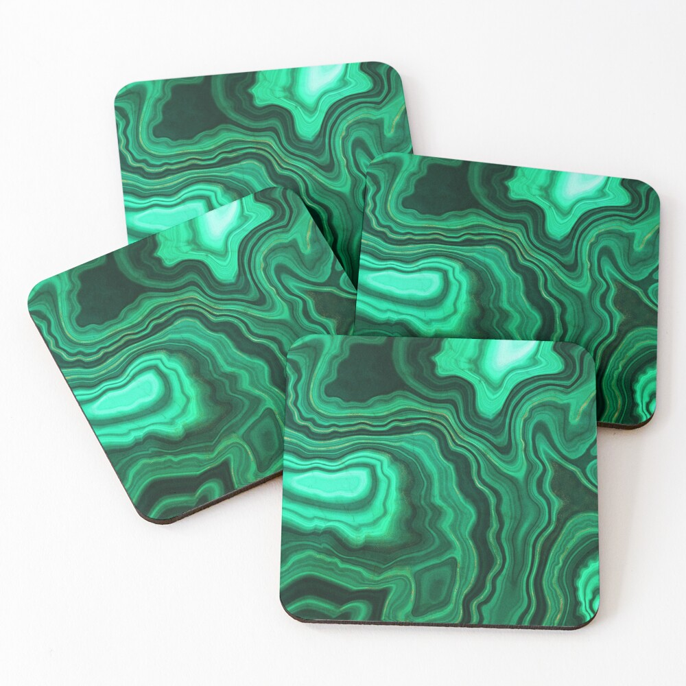 Malachite Green Marble with Gold Veins III Coasters (Set of 4)
