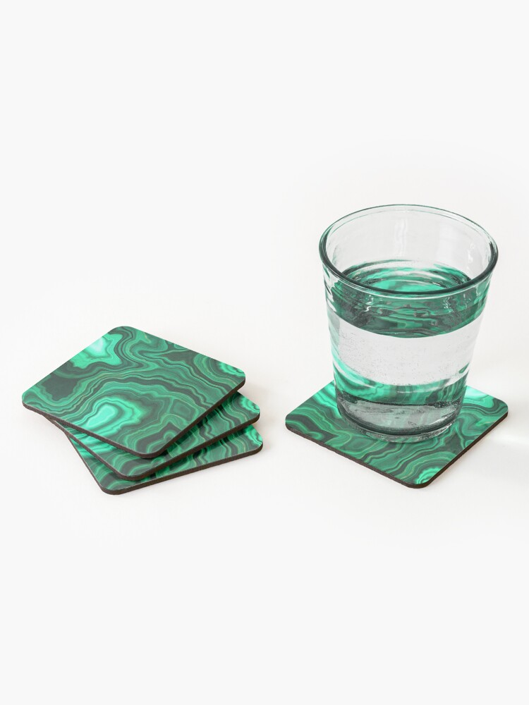 Alternate view of Malachite Green Marble with Gold Veins III Coasters (Set of 4)