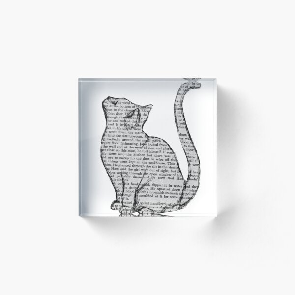 books and cats and books and cats Acrylic Block
