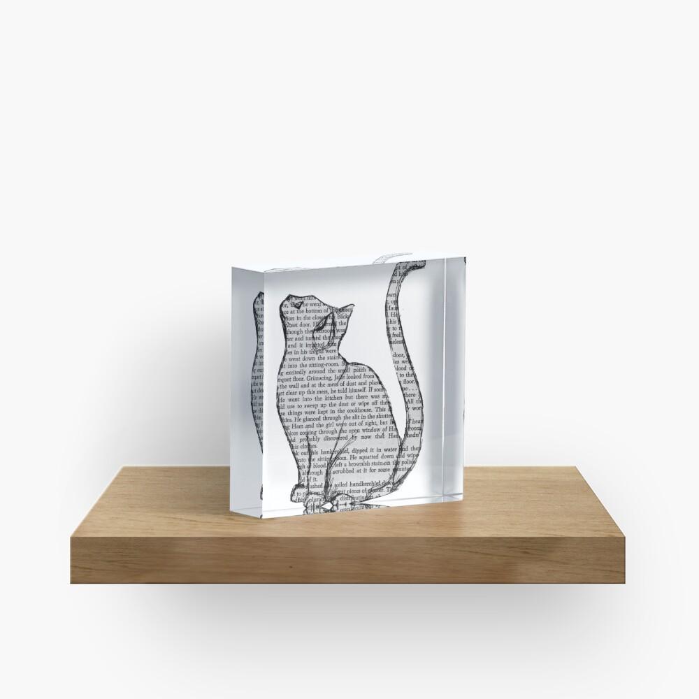 Bücher und Katzen und Bücher und Katzen Acrylblock