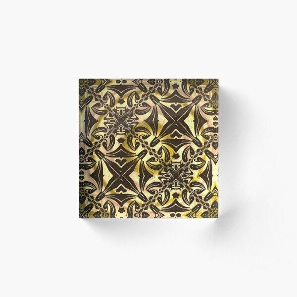 Golden Fractal  Acrylic Block