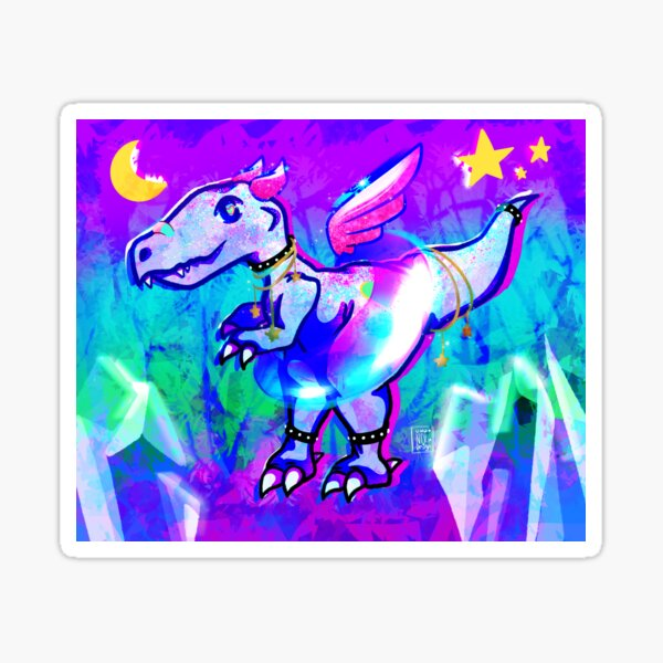 Rainbow Glitter Dinosaur Sticker