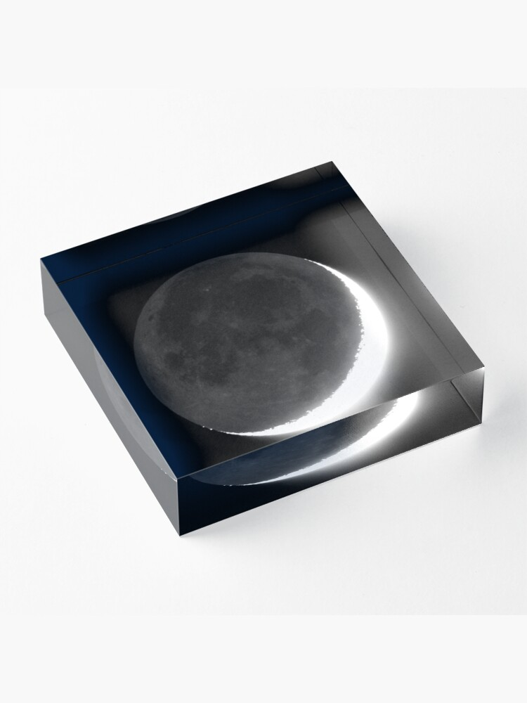 Alternate view of Crescent Moon with Earthshine Acrylic Block