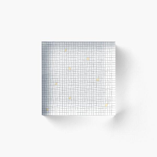Carreaux - Gris / Jaune Bloc acrylique