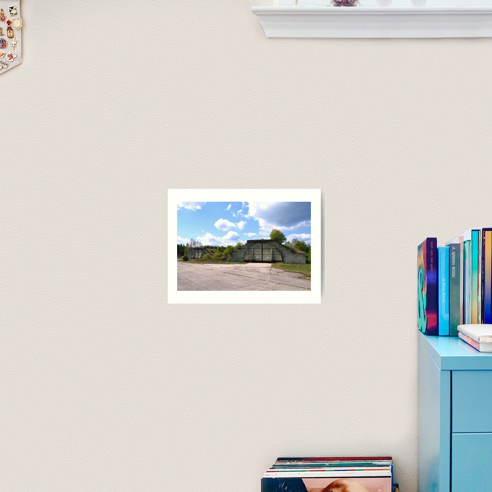Fortified airplane hangars in former military area Art Print
