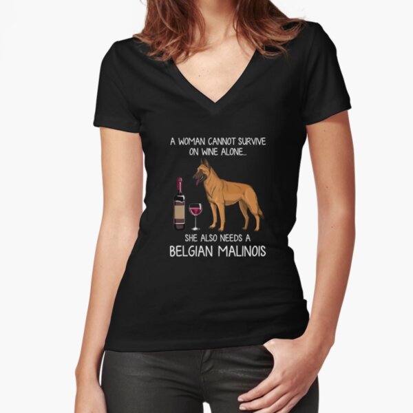 Belgian Malinois and wine Funny dog Fitted V-Neck T-Shirt