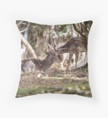 brotherly love between two deer Throw Pillow