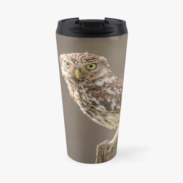 Owl on a post staring at you Travel Mug