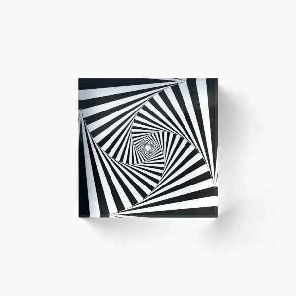 Black and White Psychedelic Spiral Tunnel Acrylic Block
