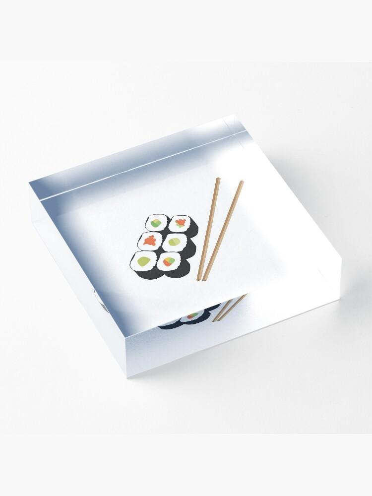 Alternate view of Sushi rolls with chopsticks Acrylic Block
