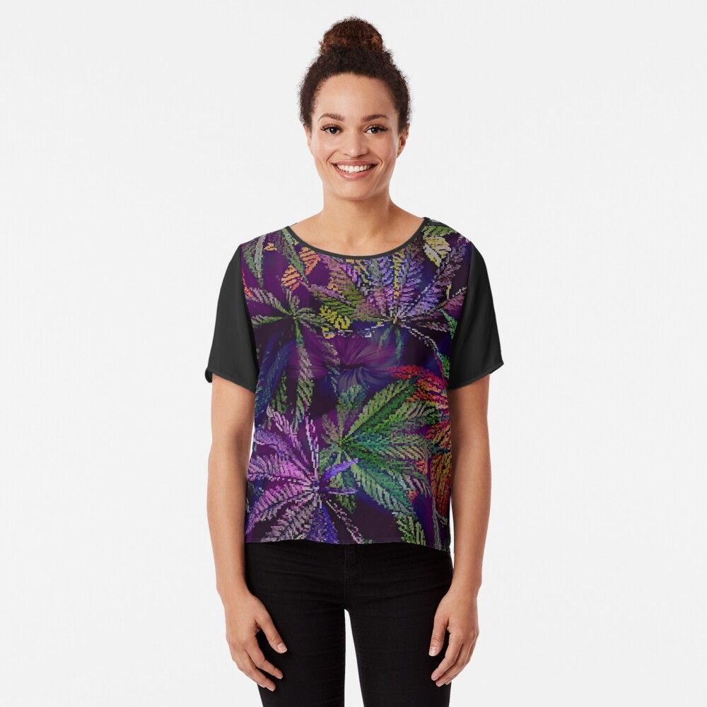 Psychedelic Marijuana Cannabis Leaves Chiffon Top