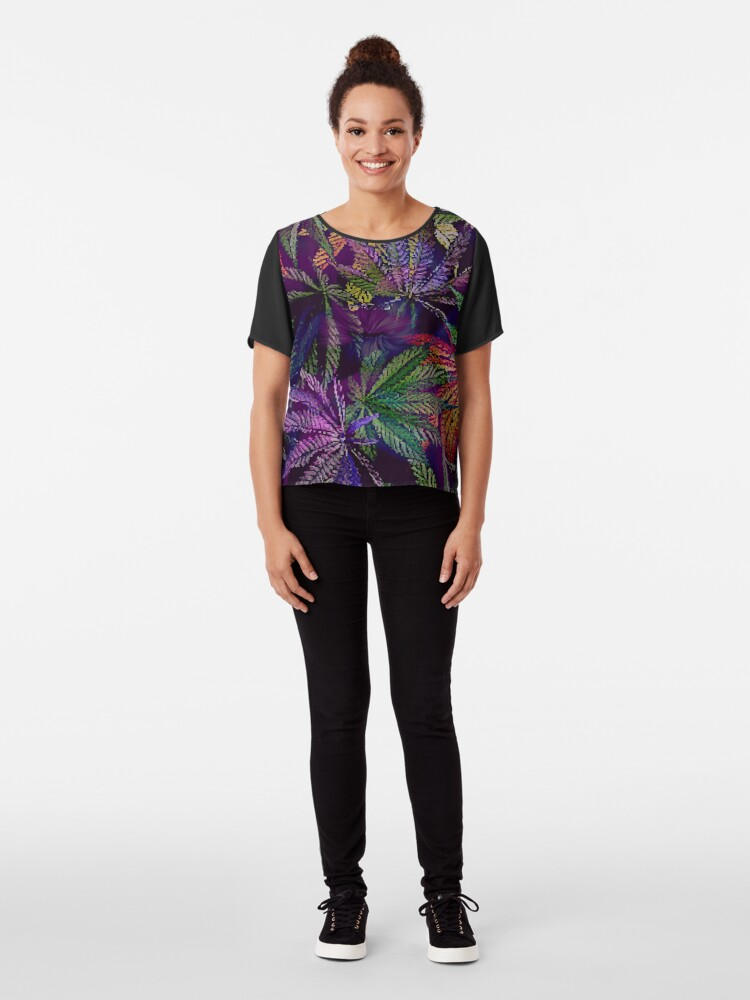 Alternate view of Psychedelic Marijuana Cannabis Leaves Chiffon Top