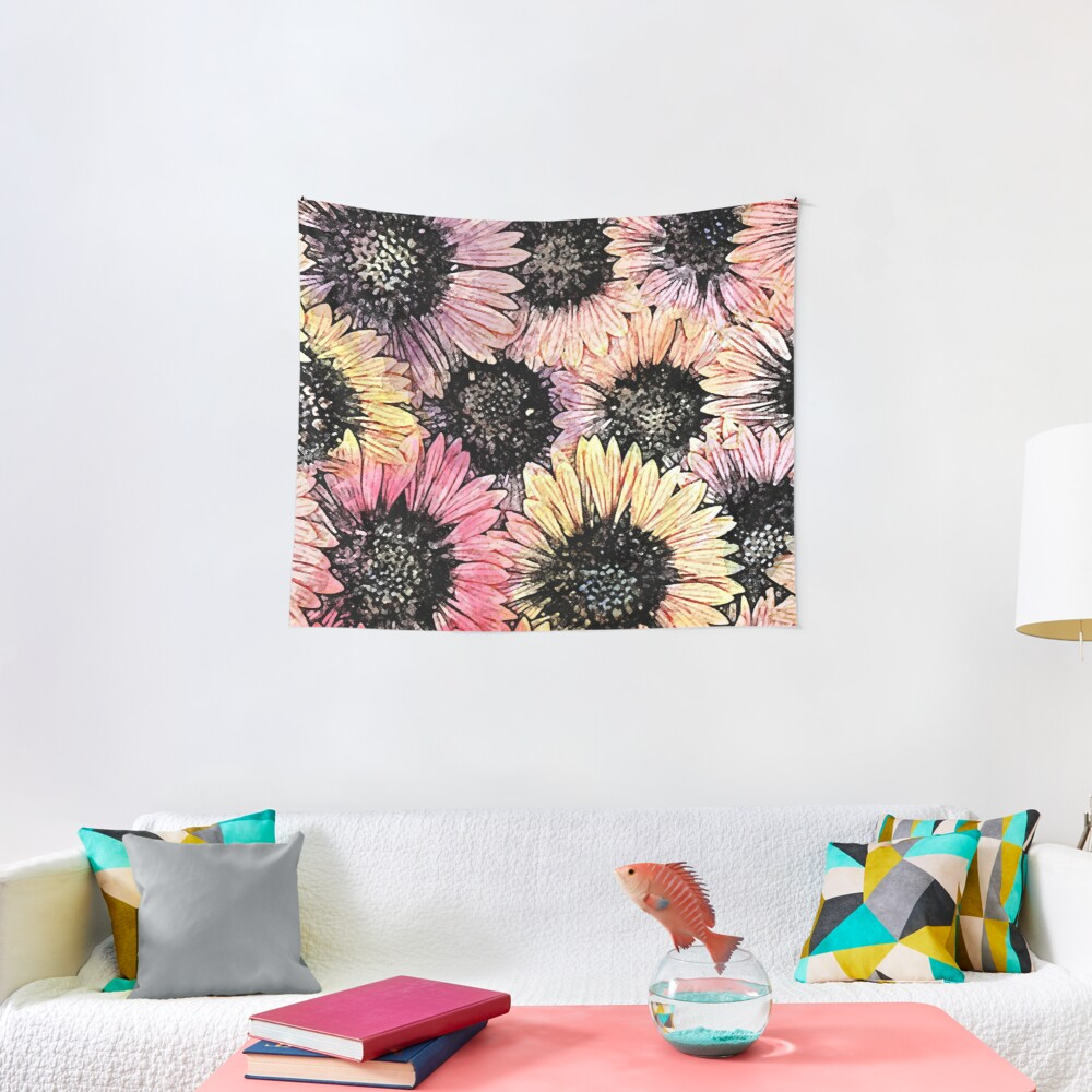 Sunflowers of Summer Floral Print Tapestry