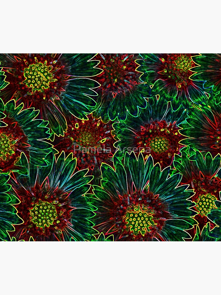 Psychedelic Retro Hipster Sunflowers by xpressio