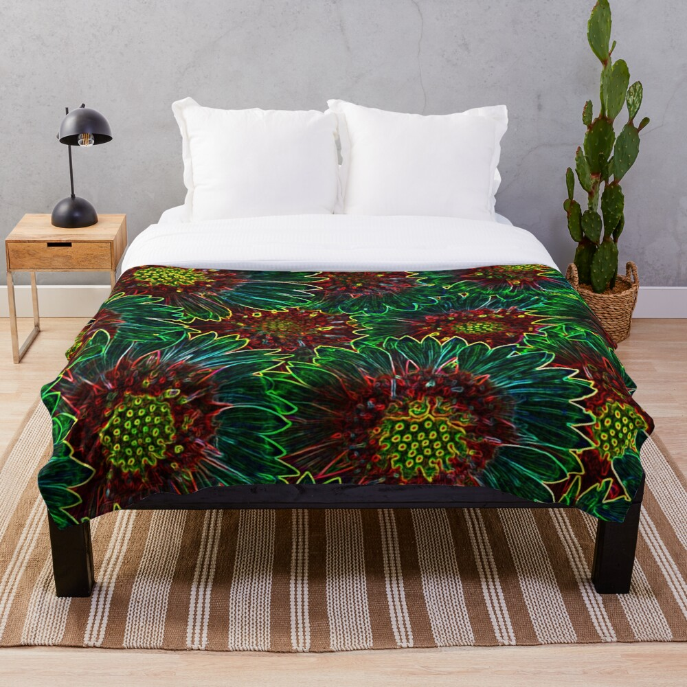 Psychedelic Retro Hipster Sunflowers Throw Blanket