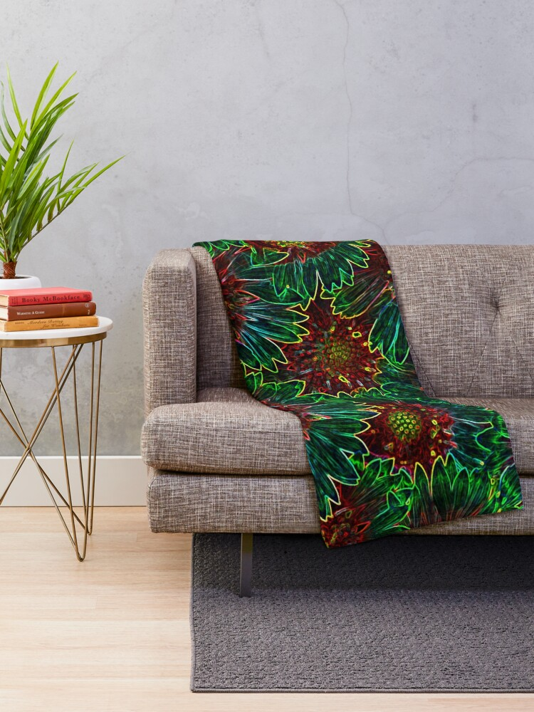 Alternate view of Psychedelic Retro Hipster Sunflowers Throw Blanket