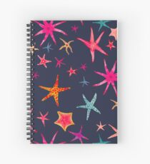 colorful watercolor starfish on navy ground Spiral Notebook