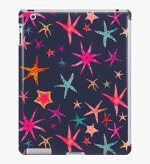 colorful watercolor starfish on navy ground iPad Case/Skin