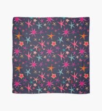 colorful watercolor starfish on navy ground Scarf