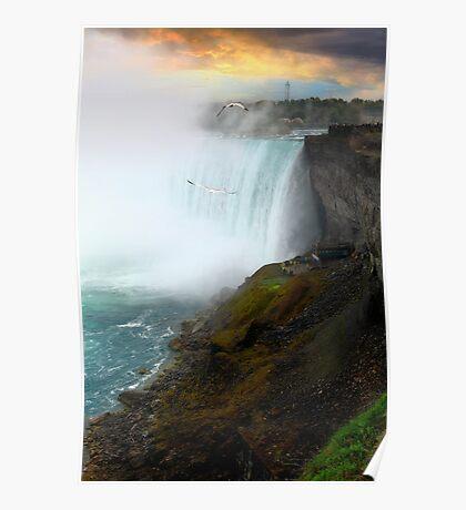 Sunset on Niagara Falls Poster