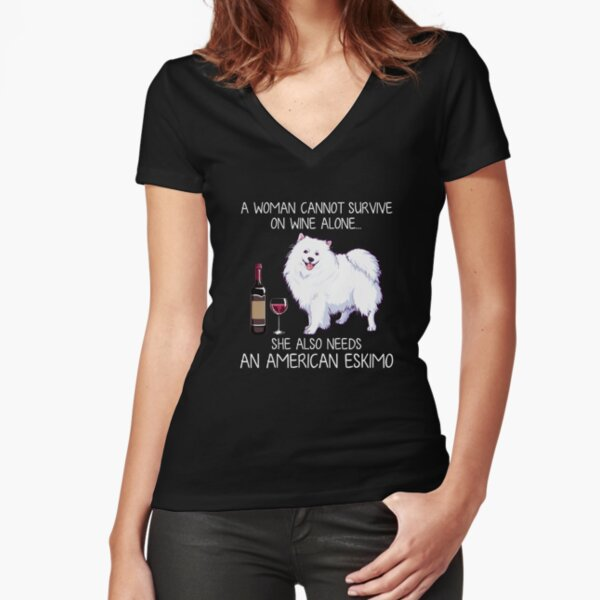 American Eskimo and wine Funny dog Fitted V-Neck T-Shirt