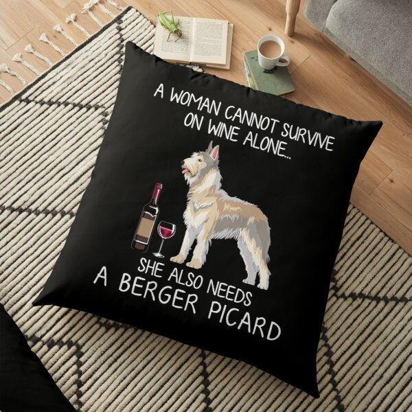 Berger Picard and wine Funny dog Floor Pillow