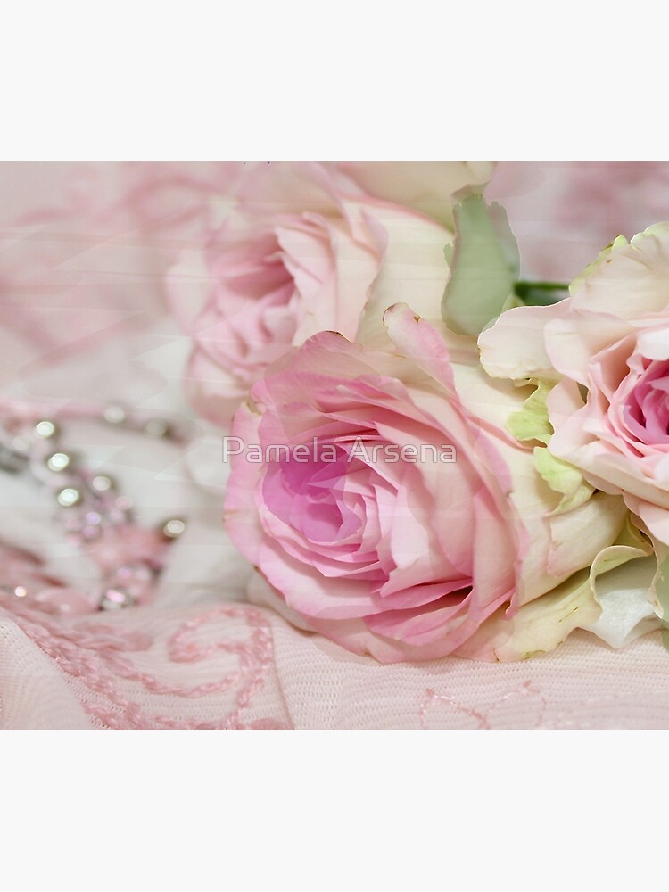 Vintage Roses and Pearls Print  by xpressio