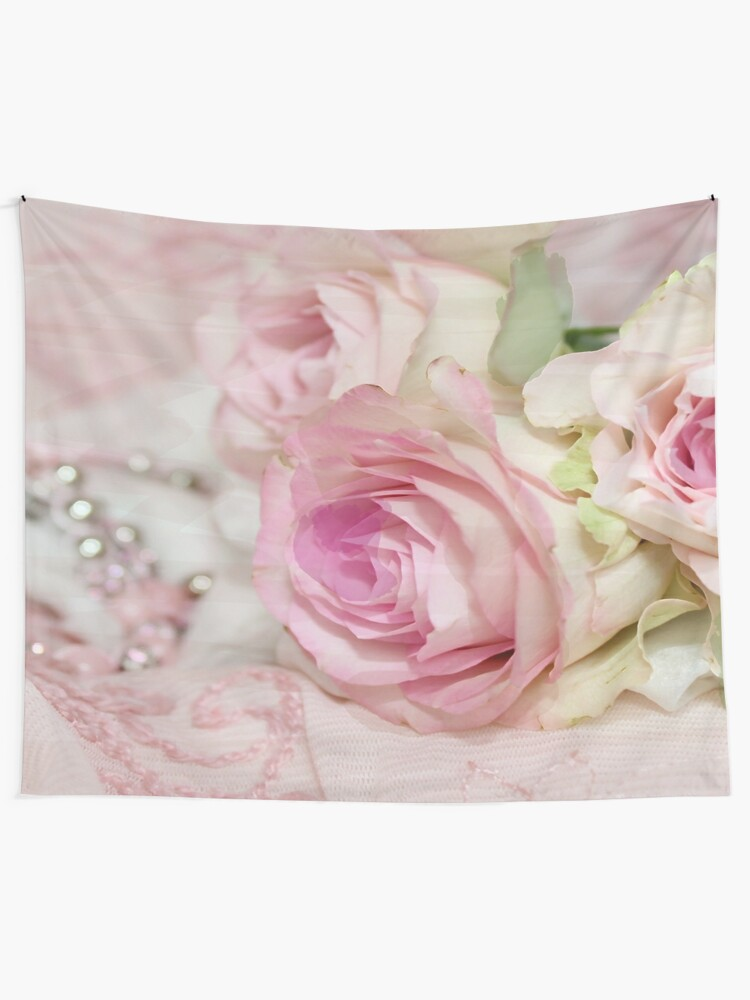 Alternate view of Vintage Roses and Pearls Print  Tapestry