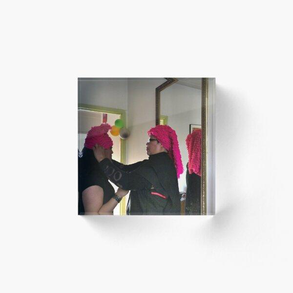 (549) Pink ruches Acrylic Block