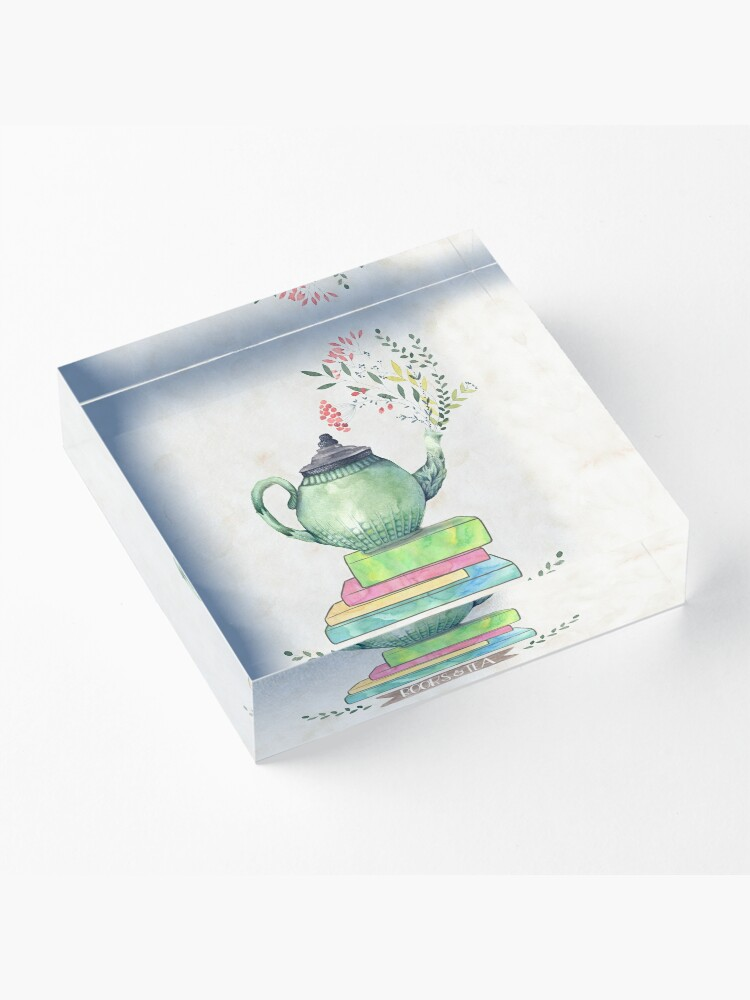 Alternate view of Books & Tea Watercolor Acrylic Block
