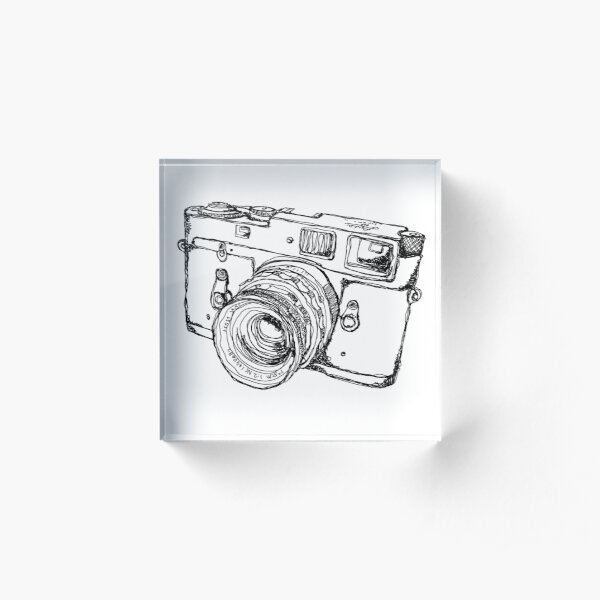 Rangefinder Style Camera Drawing Acrylic Block