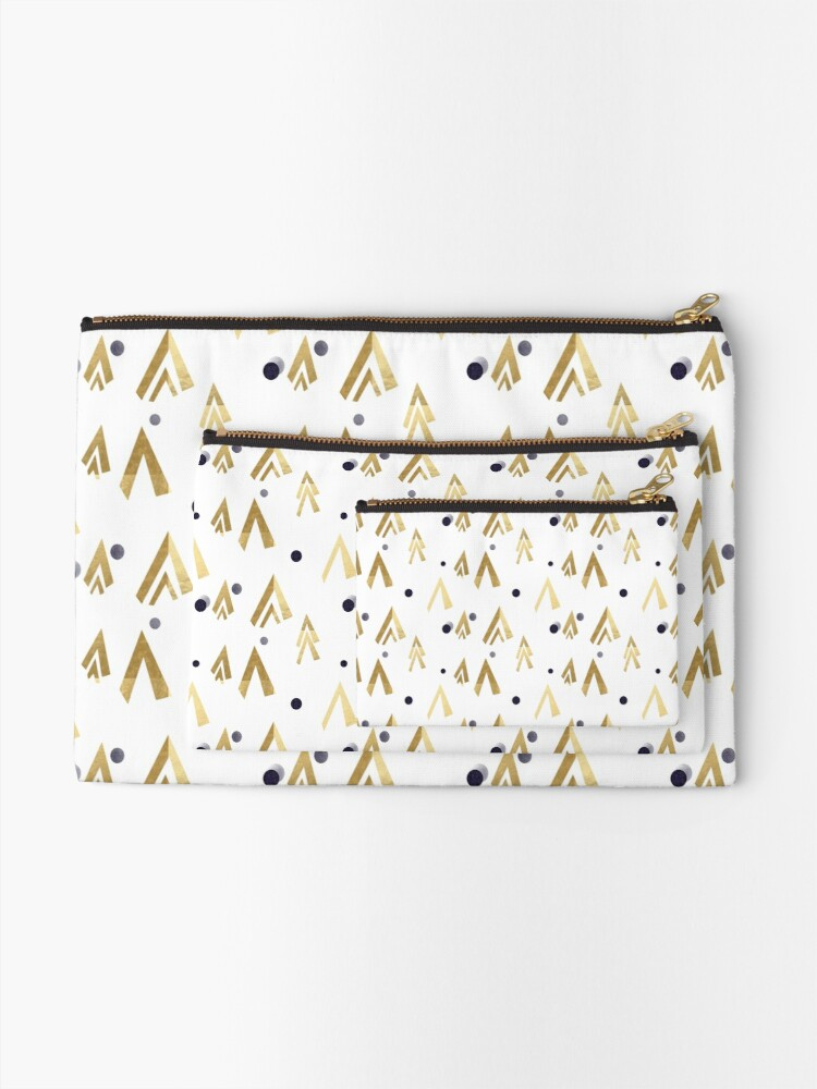 Alternate view of Golden teepees under the blue moon Zipper Pouch
