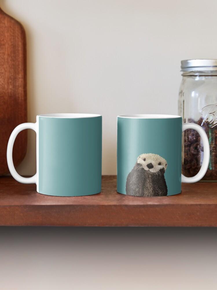 Alternate view of Cute Sea Otter on Teal Solid. Minimalist. Coastal. Adorable. Mug