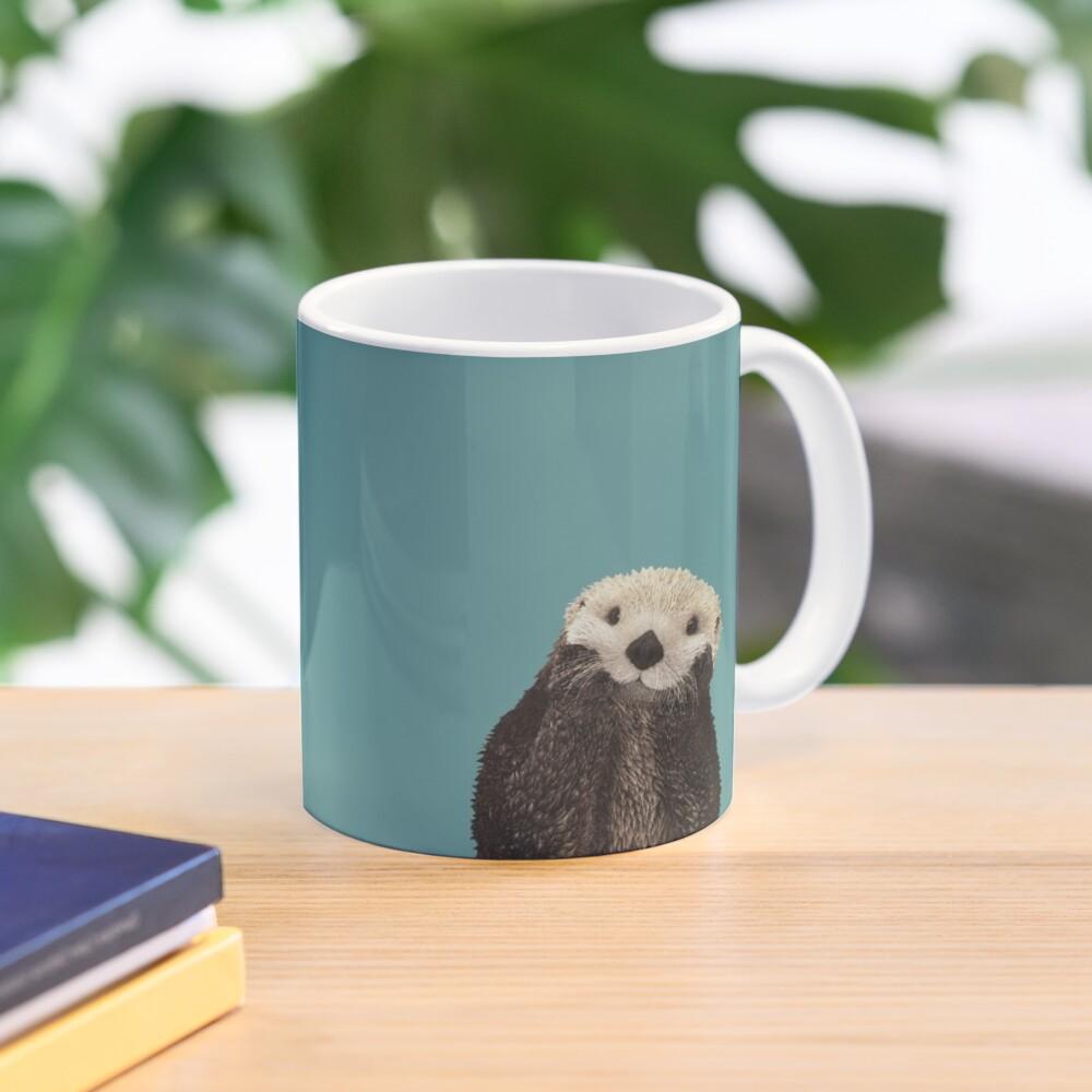Cute Sea Otter on Teal Solid. Minimalist. Coastal. Adorable. Mug