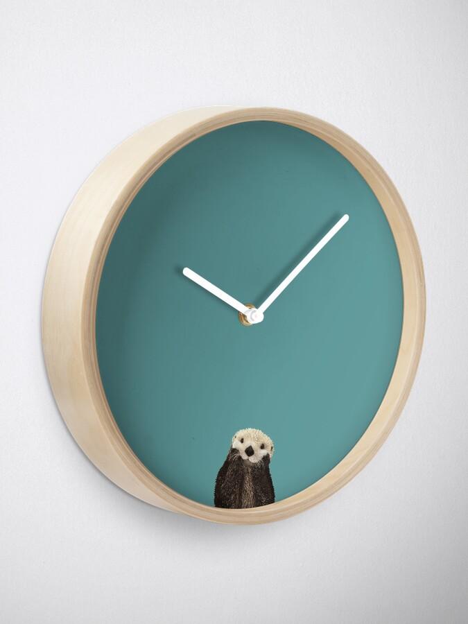 Alternate view of Cute Sea Otter on Teal Solid. Minimalist. Coastal. Adorable. Clock