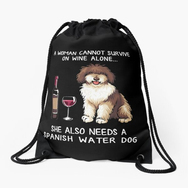 Spanish Water and wine Funny dog Drawstring Bag